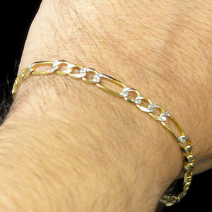 """Genuine Real 10K 100% Men's Real Yellow Gold 5mm Thick 8.5"""" Figaro Pave Bracelet"""