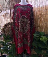 Cotton Paisley Polynesian Beach Kaftan -Dress One Size 12-14-16-18-20-22