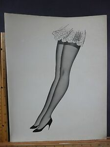 Rare Original VTG Gorgeous Sexy Legs Hosiery Stilettos Illustration Art Print