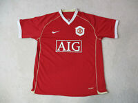 Nike Manchester United Soccer Jersey Adult Large Red White Football Futbol Mens