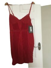 Ladies Red Strappy Lace/velvet Insert Bodycon Dress Size 12 Pretty Little Thing