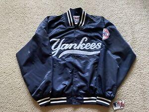 Vintage NY NEW YORK YANKEES MLB Majestic Dugout Satin Bomber Jacket Coat M NEW