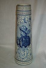 "ANTIQUE ROYAL BONN BLUE DELFT SWASHBUCKLER PORTRAIT 16.5"" PORCELAIN ALE TANKARD"