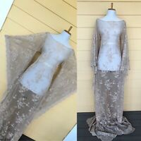 Vintage Sheer Champagne Lace Wedding Gown Boho Hippie Cut Out Crochet Maxi Dress