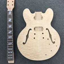 DIY Electric Guitar Kit Semi-Hollow Body with Qulited Maple Unfinished Guitar
