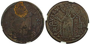US Colonial New Jersey. c.1670  CU St. Patrick Farthing. NGC VF20BN W-11500.