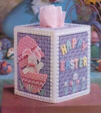 EASTER SURPRISES BUNNY TISSUE BOX COVER PLASTIC CANVAS PATTERN INSTRUCTIONS