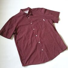 Burgundy red white CARHARTT POLKA DOT SHIRT M spotty retro slim short sleeved