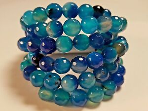 NWT$95 SAVVY CIE JEWELS Faceted Blue Agate Bracelet Coil Wrap StainlessSteelWire