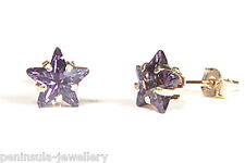 9ct Gold Purple CZ Star Stud earrings Gift Boxed