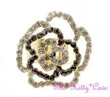 Big Prom Rose Flower Floral Gold Dimensional Statement Ring w/ Swarovski Crystal