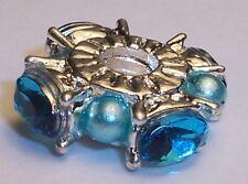 Aqua Blue Rhinestone Pearl Silver Plated Bead for European Style Charm Bracelets
