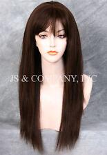 100% HUMAN HAIR Long NEW STRAIGHT Brown Auburn mix WIG IHHI 4-30