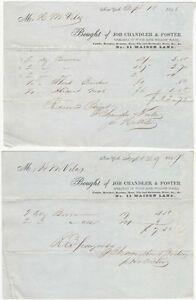 1848 + 1849 Billheads for New York Wood & Willow Ware Dealer