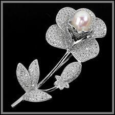 Natural 10X8 mm. Blanco Perla Y Cubic Zirconia Sterling 925 Colgante De Plata Flor Broche Con