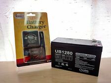 UPG 12VOLT 8AH RECHARGEABLE SEALED LEAD ACID 12V BATTERY & CHARGER W LED LIGHTS