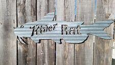 Rustic  Metal Corrugated River Rat Catfish Sign