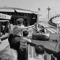 Woman And Children At The Beverly Park Kiddieland Amusement Park In OLD PHOTO