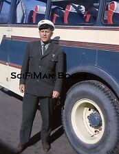 KODACHROME 35mm Slide Handsome Man Large Bus Driver Suit Tie Hat Fashion 1965!!!