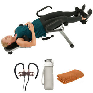 Sunny Health and Fitness Invert Extend N Go Back Stretcher Bench+Earbuds Bundle