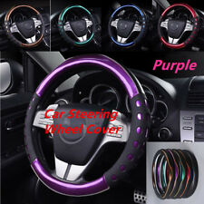 Multi-color 38cm Car SUV Steering Wheel Cover Glossy Purple PU Leather Universal