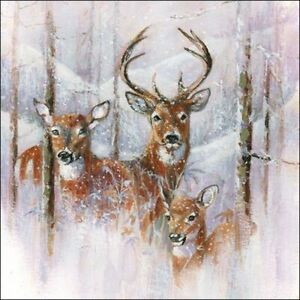 4 x Single Paper Table Napkin/3-Ply/33cm/Decoupage/Christmas/Wilderness Stag