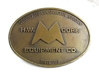 Vintage H. W. Moore Equipment Co. Since 1913 Belt Buckle 41417