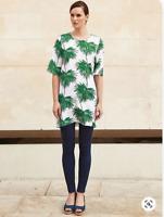 New Womens White Stuff Tunic Palm Print Green White Textured Mini Dress 12