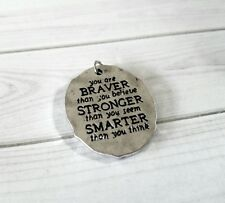 Quote Pendant Word Pendant Inspirational Word Charm BRAVER STRONGER SMARTER