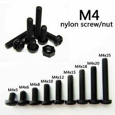 25/50/100pcs Black Plastic Nylon M4 Round Pan Phillips Head Screw Bolt Hex Nut