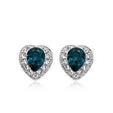 18K WHITE GOLD PLATED SAPPHIRE BLUE/ CLEAR GENUINE CUBIC ZIRCONIA HEART EARRINGS