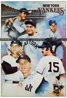 Vintage, RARE Joe DiMaggio & Mickey Mantle signed New York Yankees Large Print