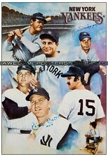 Vintage, RARE Joe DiMaggio & Mickey Mantle signed New York Yankees Large Print