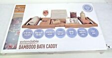 """Luxury Bamboo Bathtub Caddy Tray w/ Book and Wine Holder, Extends up to 43""""  26D"""