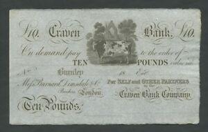 ENGLAND Craven Bank  £10  c.1870s  Uncirculated  Provincial