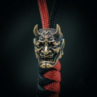 EDC Hannya Skull Knife Pendant Paracord Cord Outdoor Beads DIY Decorations Gear