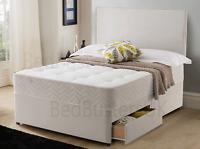 STONE SUEDE DIVAN BED SET + MEMORY MATTRESS + HEADBOARD 3FT 4FT 4FT6 Double 5FT