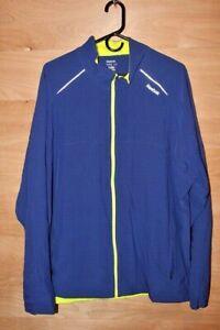 Reebok Play Dry Full Zip Athletic Jacket Blue / Yellow Polyester Spandex XXL