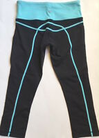 LULULEMON Run Tracker Crop Pants Black w Turquoise size 4 Yoga Gym Run Spin