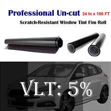 "Uncut Roll Window Tint Film 5% VLT 24"" In x 100' Ft Feet Car Home Office Glass"
