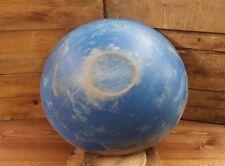 "19th Century Antique Wooden Primitive Bowl in Blue Paint 13 1/4"" by 14 1/4"""