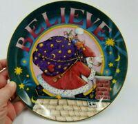 "Mary Engelbreit Believe 8"" Plate Christmas Santa Danbury Mint Vintage 90s"