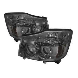 Fit Nissan 04-15 Titan / 04-07 Armada Smoke Dual Halo LED Projector Headlights