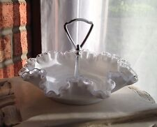 Vintage Fenton Silver Crest Bon Bon with Metal Handle 7498-SC