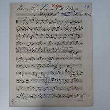 Wagner Siegfried fantasie viola parte, Antico Manoscritto Musica c.1914 Musica Regalo