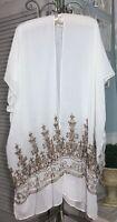 NEW Plus Size 3X 2X 1X Ivory White Open Kimono Embroidered Duster Topper
