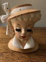 "VINTAGE LADY HEAD VASE 1959 NAPCO ~ 5 1/4"" ~Bristle EYE LASHES- C3959B"