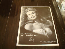 """GINGER ROGERS 1995 ad """"Thanks, Ginger, for 25 memorable years."""" from her agency"""