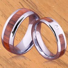 A Pair of Tungsten Koa Wood Rings TUR4001 TPX151