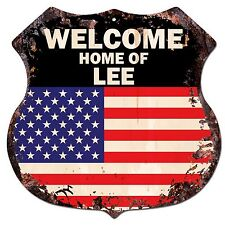 BP-0265 WELCOME HOME OF LEE Family Name Shield Chic Sign Home Decor Gift